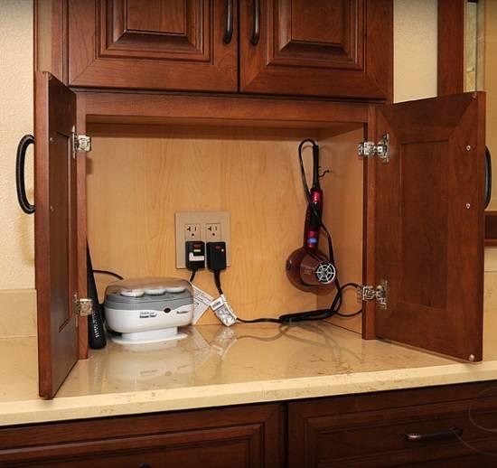 Шкафчик для ванной с розетками