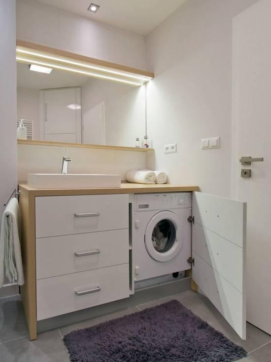 Скрытая стиральная машина в ванной