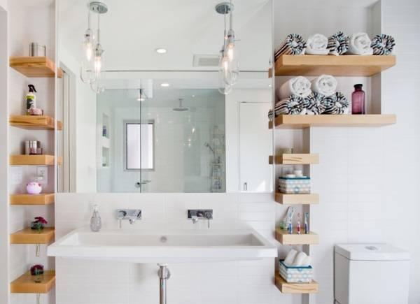 Плавающие полки в дизайне ванной