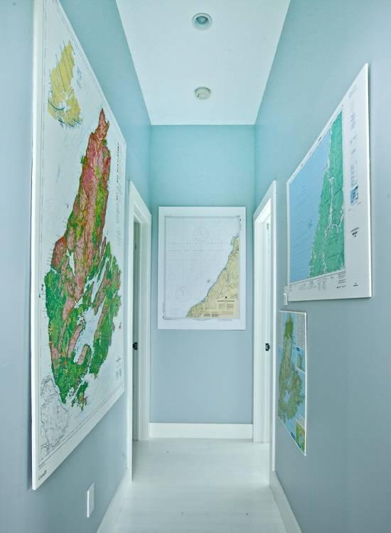 Украшение комнаты географическими картами