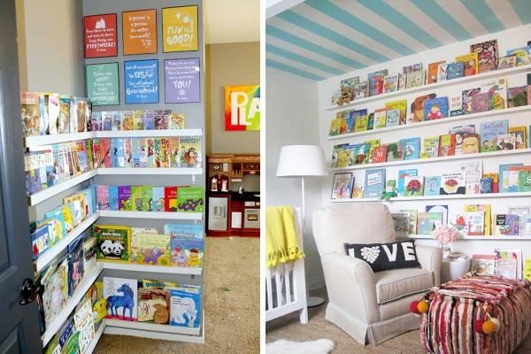 Детские книги на полках на стене