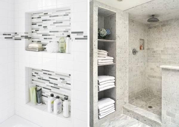 Gömme raflı banyolar