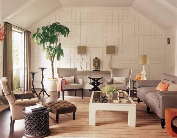 Асимметрия в дизайне гостиной