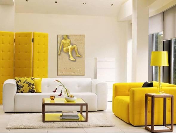 Баланс цвета в асимметричной гостиной