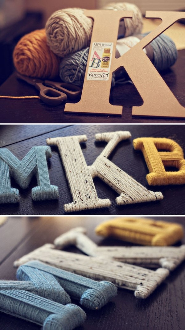 Буквы из картона и ниток