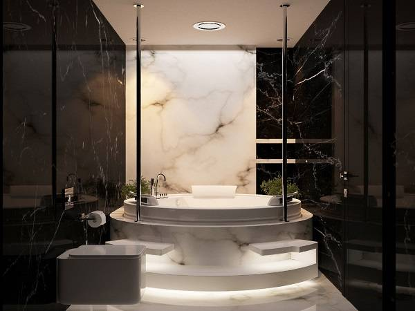 Черно-белая ванная с LED подсветкой