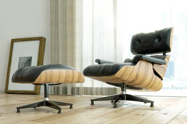 Черное кресло Eames lounge с подставкой под ноги