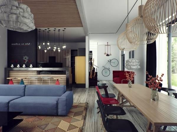 Дизайн интерьера 2015 с диваном цвета индиго