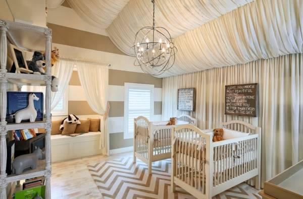 Дизайн детской с необычным потолком