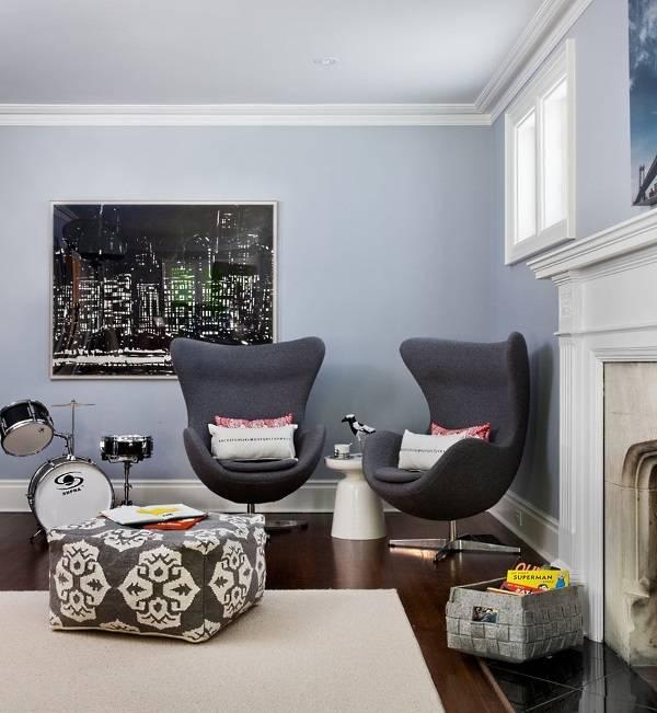 Кресла в форме яйца в интерьере