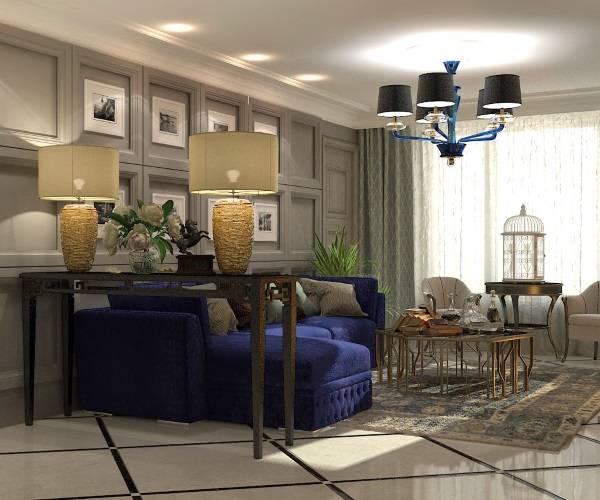 Дизайн гостиной с золотым и синим декором