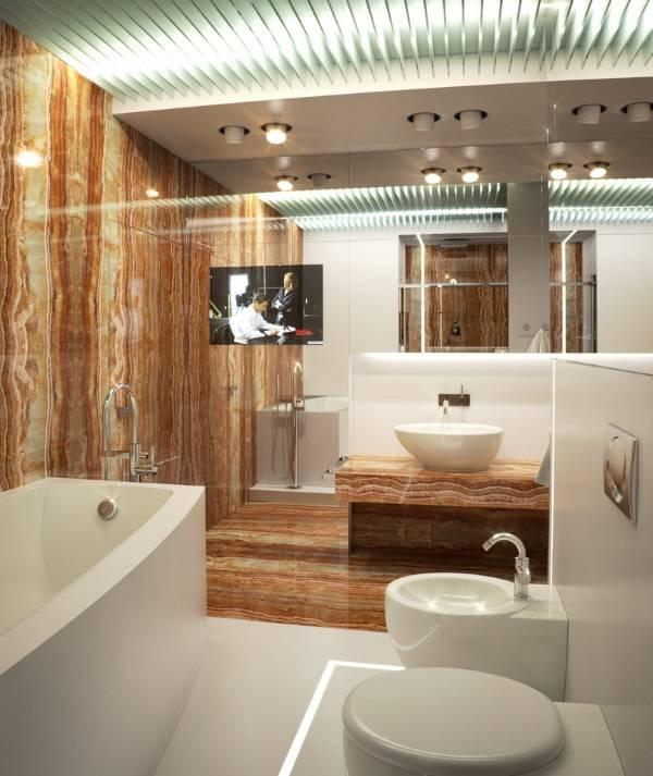 Коричневые оттенки мрамора в ванной комнате