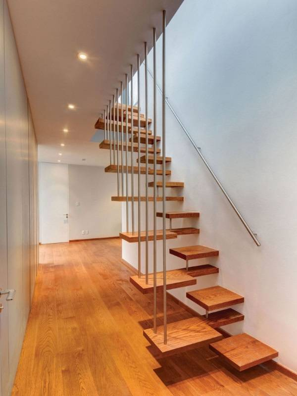 Unique Wooden Stairs Minimalist Rail Wooden FLoor Hidden Lamps