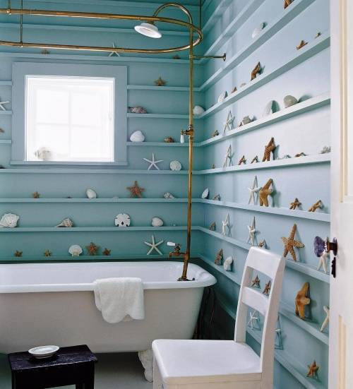 Необычный дизайн стен в ванной