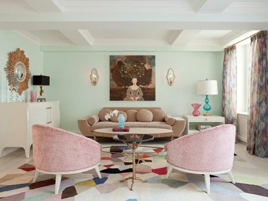 Пастельные краски в дизайне гостиной
