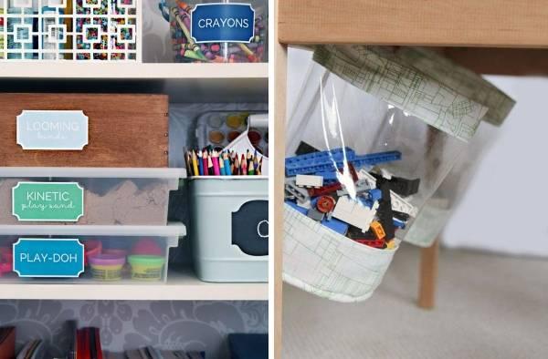 Подвесной мешок и полки в детской комнате