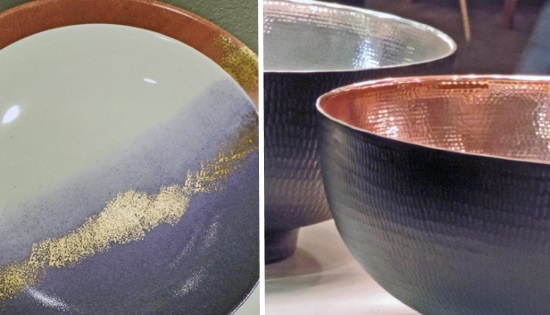 Посуда с краской металлик