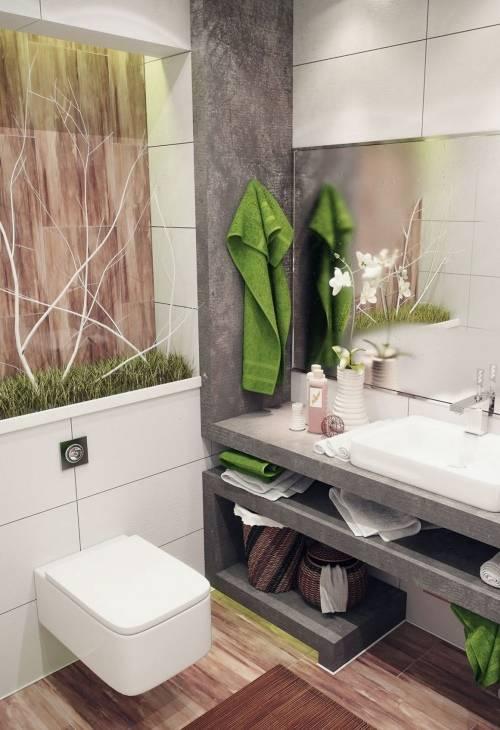 Зеленые акценты в ванной