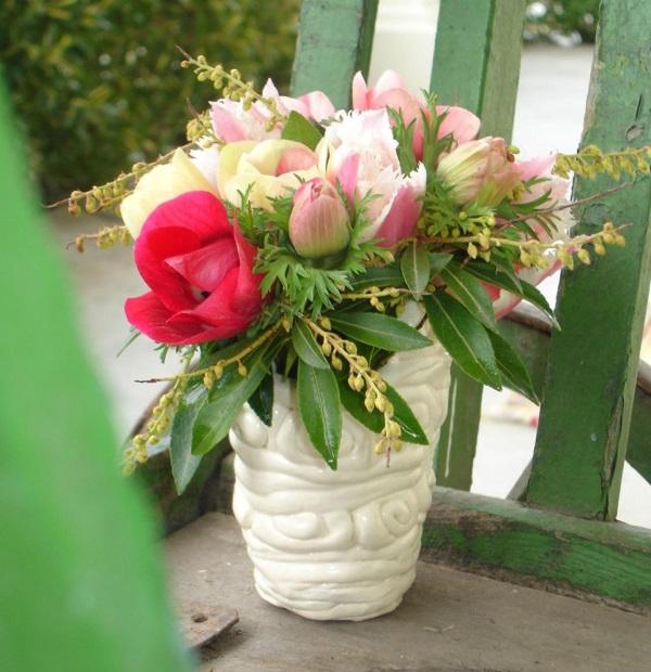 Букет из розовых и красных цветов