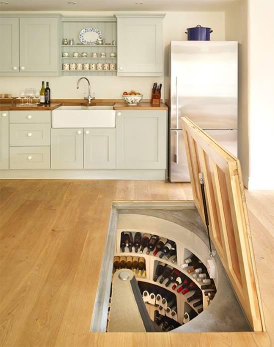 Скрытый винный погреб на кухне