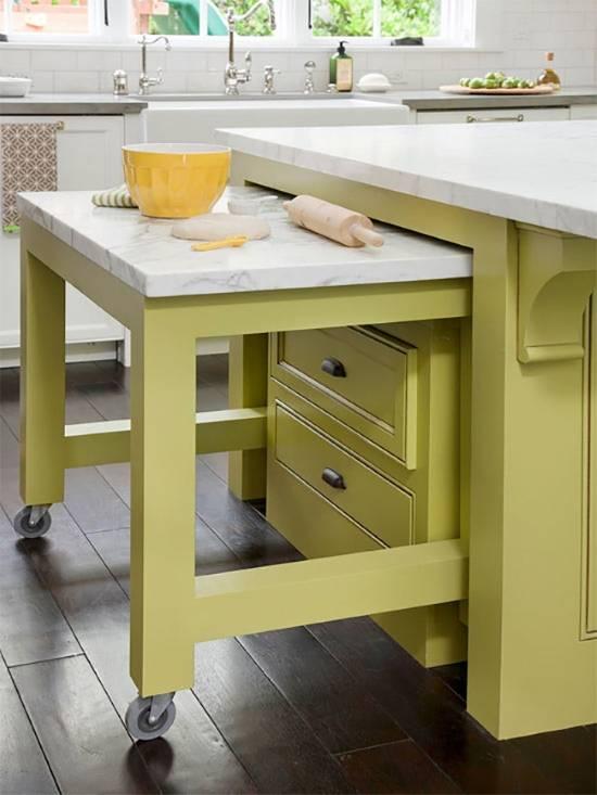 Скрытый стол в кухонном острове
