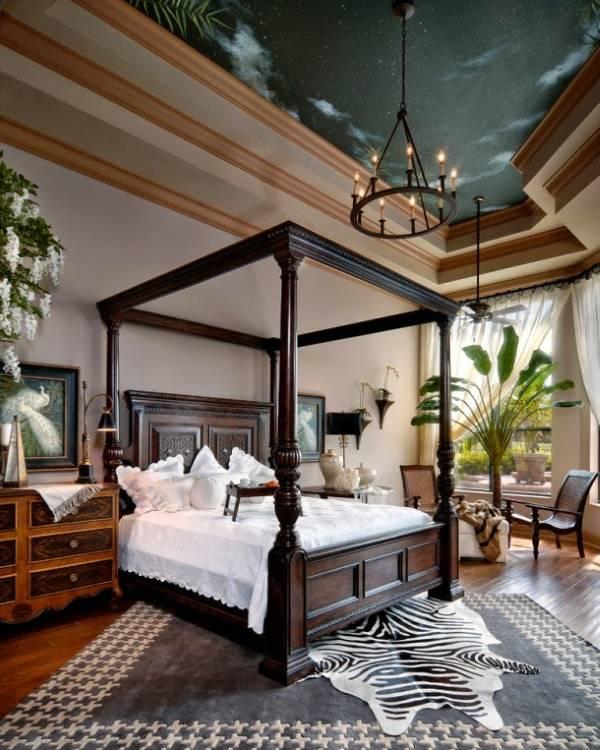 Ночное небо в спальне на потолке