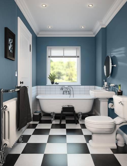 Стильная черно-белая ванная