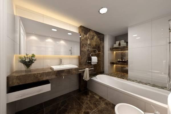 Светлая ванная с деталями из темного мрамора