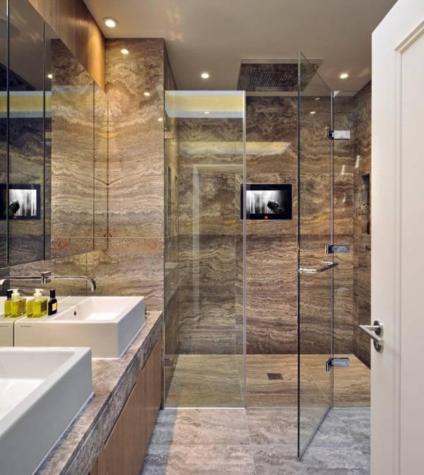 Темный мрамор в ванной комнате