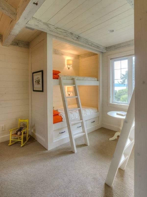 Детская комната, отделанная досками