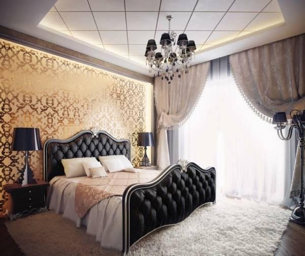 Сочетание золотого и черного цвета в спальне