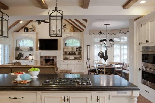 Дизайн кухни в черно-белом цвете и стиле прованс