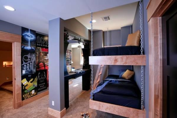 Подвесная двухъярусная кровать для подростков