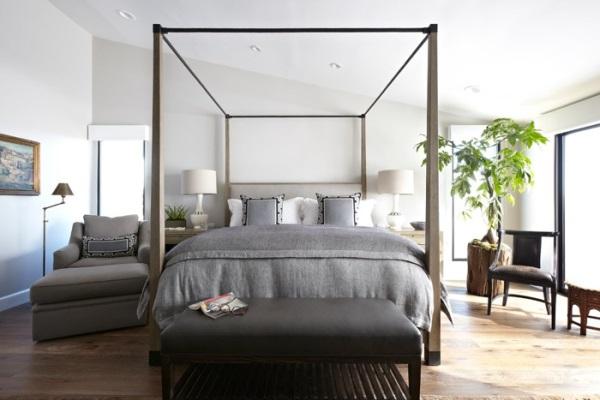 Простой дизайн спальни в стиле эко