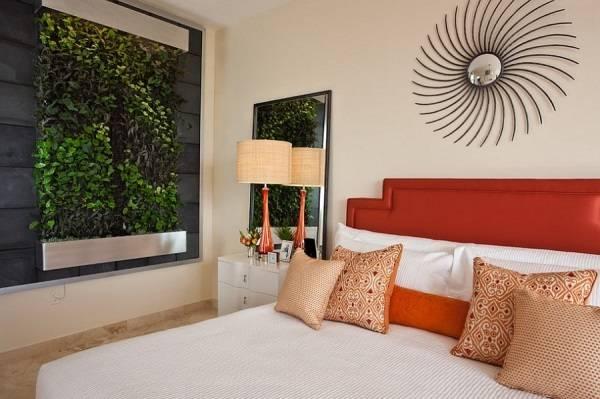 Фитостена в дизайне спальни