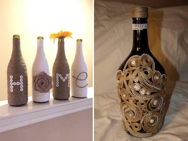 Разные способы декора бутылок шпагатом