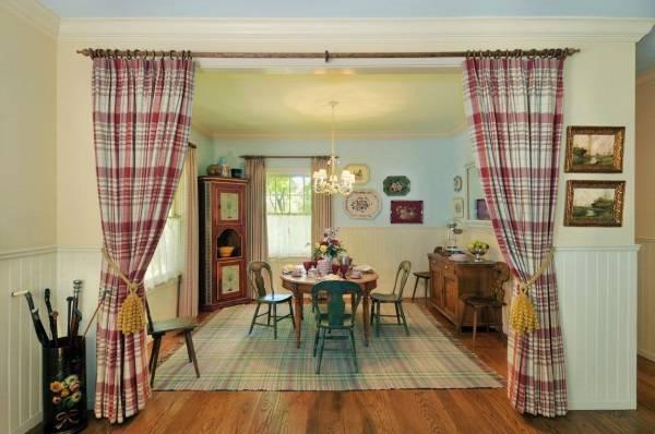 Клетчатые шторы для гостиной