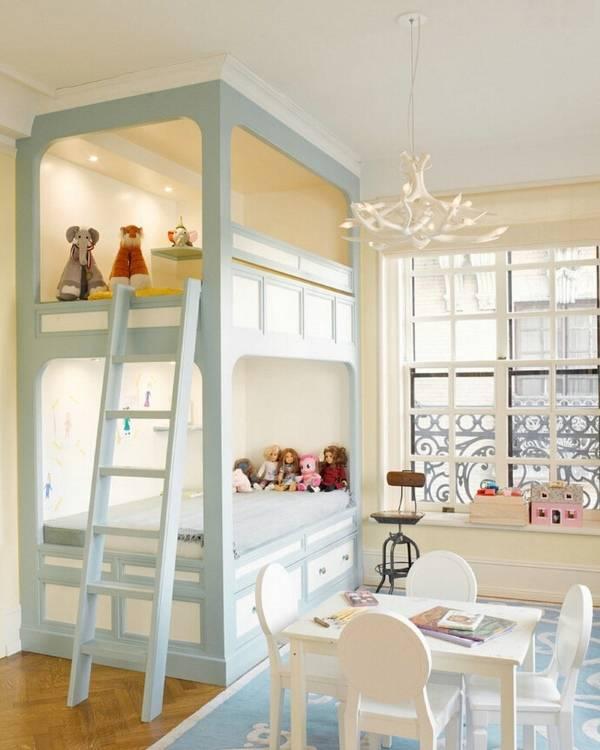 Красивая комната для девочек с двухъярусной кроватью