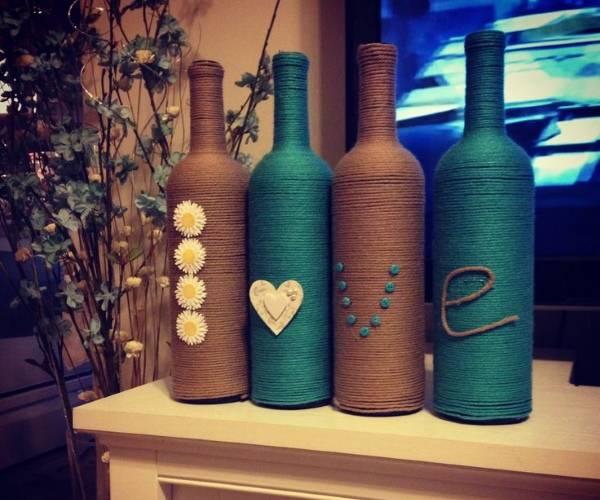 Декор бутылок разноцветным шпагатом