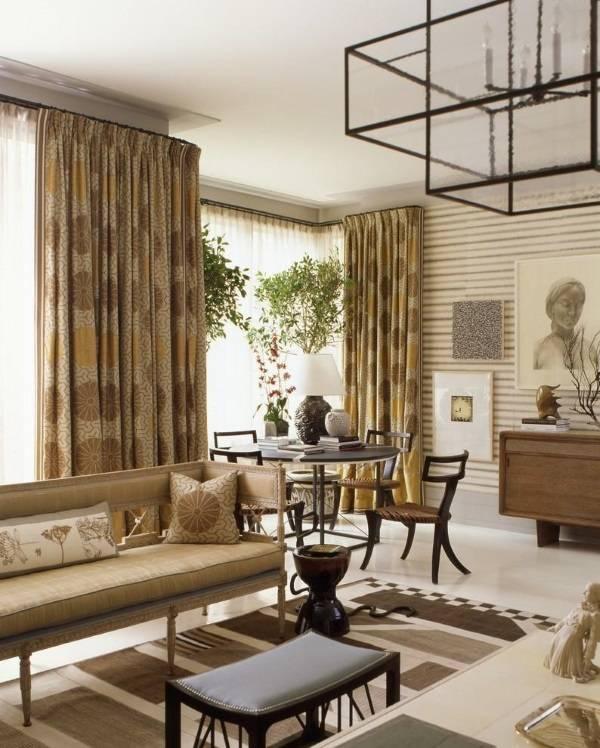 Необычный дизайн штор для гостиной
