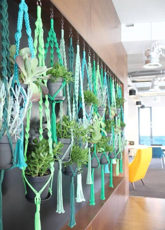 Плетеный декор для подвешивания горшков с растениями