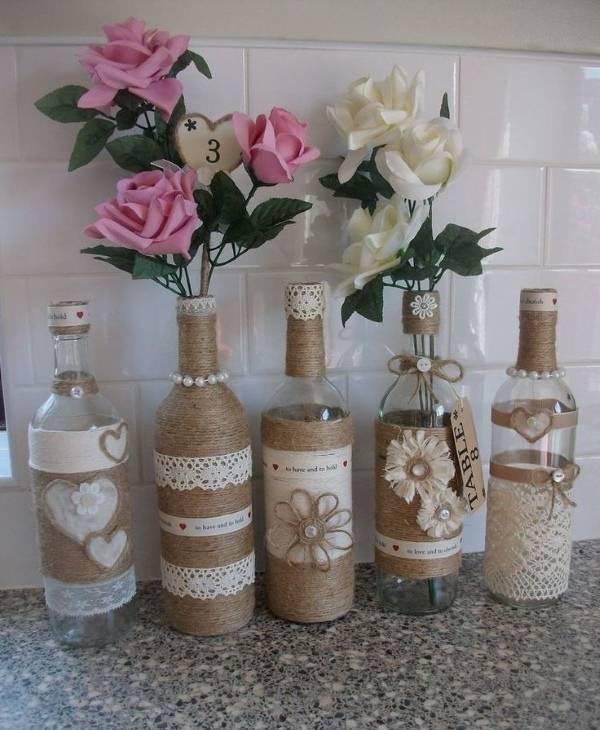 Декорирование бутылок лентами, шпагатом и т.д.