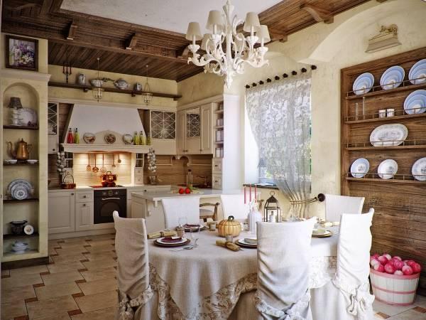 Украшение кухни в стиле прованс яркой посудой