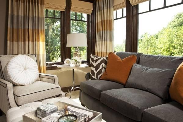 Полосатые шторы в дизайне интерьера