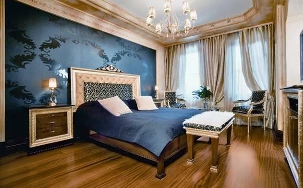 Сапфировый синий цвет в дизайне спальни