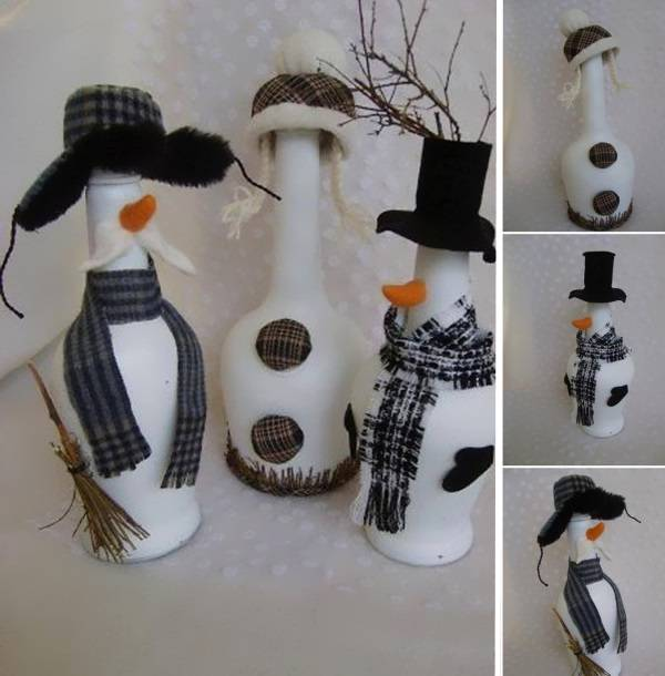 Снеговики из бутылок своими руками