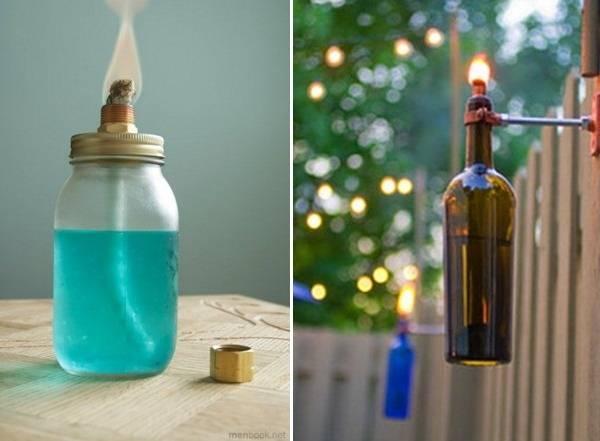 Светильники из бутылок и банок