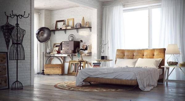 Винтажная спальня с кожаной кроватью