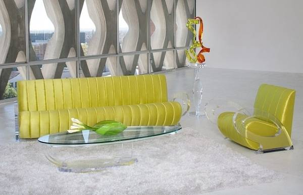 Диван и кресло с акриловыми вставками