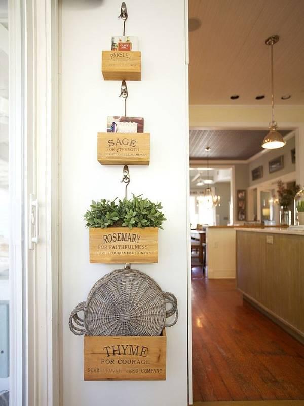 Стильные полочки для стен кухни